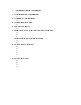 Comprehension Questions Avancemos 3 pp 2-3