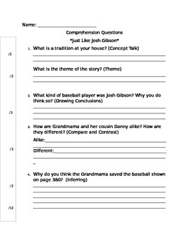 Comprehension Questions-Just Like Josh Gibson