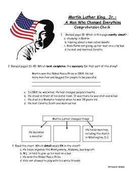 Martin Luther King Jr. A Man Who Changed Everything: A Comprehension Check