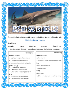 Comprehension Questions National Geographic Article Sharks