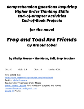 Comprehension Questions and Project Ideas for the Novel Frog and Toad