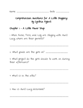 Comprehension Questions for 'A Little Shopping' by Cynthia Rylant