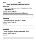 Comprehension Questions for AUTHOR: A TRUE STORY