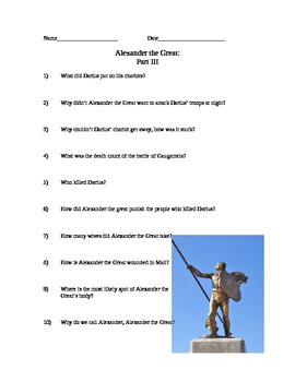 Comprehension Questions for Alexander the Great History Channel Documentary