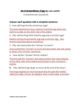 Comprehension Questions for An Extraordinary Egg by Leo Leonni
