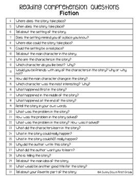 Comprehension Questions for Any Fiction Story!