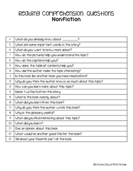 Comprehension Questions for Any Nonfiction Story!