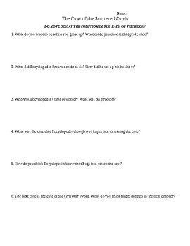 Comprehension Questions for Encyclopedia Brown Boy Detective