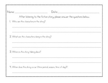 Comprehension Questions for Fiction Text