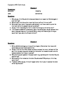 """Comprehension Questions for """" ... Files of Mrs. Basil E. Frankweiler"""""""