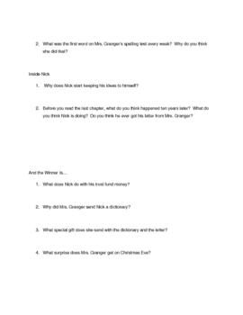 Comprehension Questions for Frindle by Andrew Clements