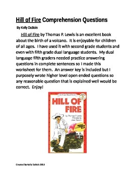 Comprehension Questions for Hill of Fire by Thomas P. Lewis Volcano Volcanoes