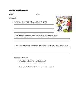 Comprehension Questions for Horrible Harry in Room 2B