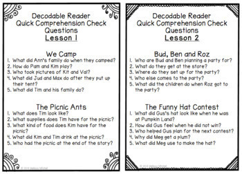Journeys SECOND GRADE Comprehension Questions for Decodable Readers Unit 1