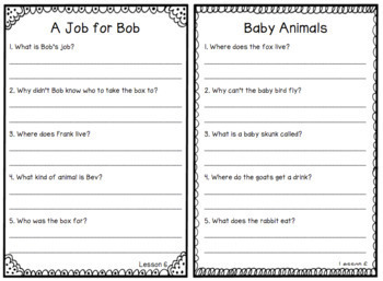 Journeys SECOND GRADE Comprehension Questions for Decodable Readers Unit 2