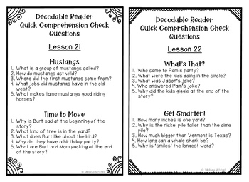 Journeys SECOND GRADE Comprehension Questions for Decodable Readers Unit 5