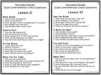 Journeys FIRST GRADE Comprehension Questions for Decodable Readers Unit 5