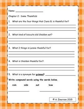 Comprehension Questions for Junie B. Jones Turkeys We Have Loved and Eaten