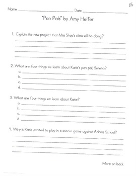 Comprehension Questions for LLI Blue Kit, Stories 101-110