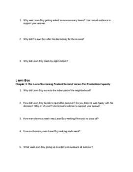Comprehension Questions for Lawn Boy by Gary Paulsen