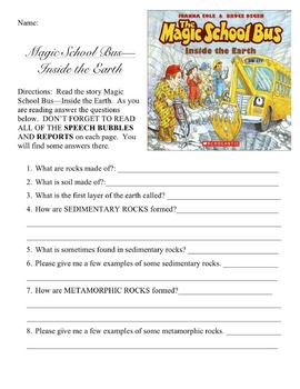 Comprehension Questions for Magic School Bus Inside the Earth