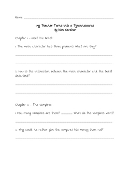 Comprehension Questions for 'My Teacher Turns into a Tyrannosaurus'