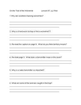 Comprehension Questions for On The Trail of the Wolverine, LLI Red Lesson 97