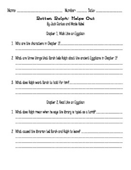 Comprehension Questions for Rotten Ralph Helps Out