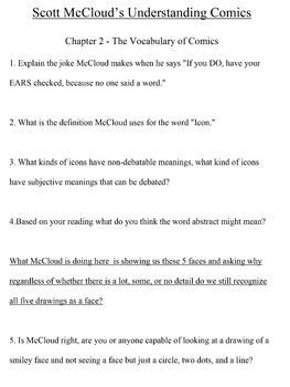 Comprehension Questions for Scott McCloud's Graphic Novel Understanding Comics