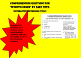 """Comprehension Questions for """"Seventh Grade"""" by Gary Soto ("""