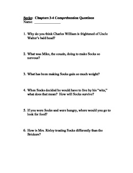 """Comprehension Questions for """"Socks"""" by Beverly Cleary - By Chapter - CCGPS"""