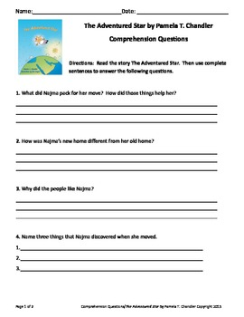 Comprehension Questions for The Adventured Star By Pamela T. Chandler