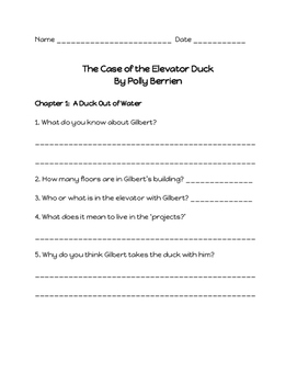 Comprehension Questions for 'The Case of the Elevator Duck'