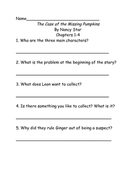 Comprehension Questions for 'The Case of the Missing Pumpkins' by Nancy Star