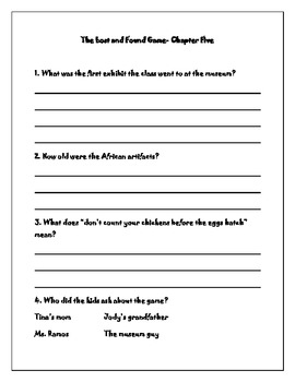 "Comprehension Questions for ""The Lost and Found Game"""