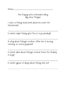 Comprehension Questions for 'The Puppy Who Wanted a Boy' by Jane Thayer