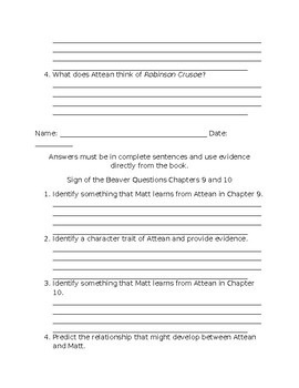 Comprehension Questions for The Sign of the Beaver by Elizabeth George Speare