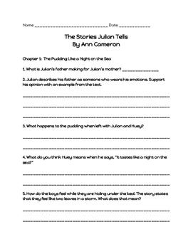 Comprehension Questions for 'The Stories Julian Tells'