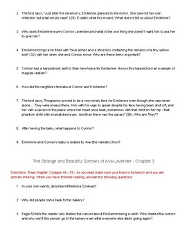 "Comprehension Questions for ""The Strange and Beautiful Sorrows of Ava Lavender"""