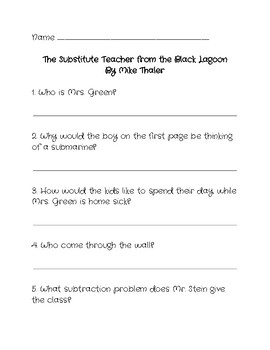 Comprehension Questions for 'The Substitute Teacher from the Black Lagoon'