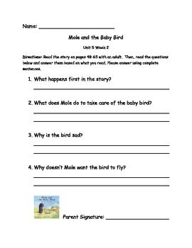 Comprehension Questions for Unit 5 First Grade Reading Street
