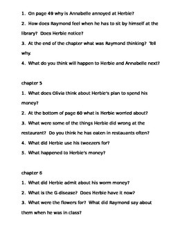Comprehension Questions for What's the Matter With Herbie Jones? by Susy Kline