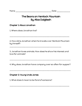 Comprehension Questions for 'The Bears on Hemlock Mountain'