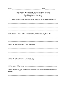 Comprehension Questions for 'The Most Wonderful Doll in the World'