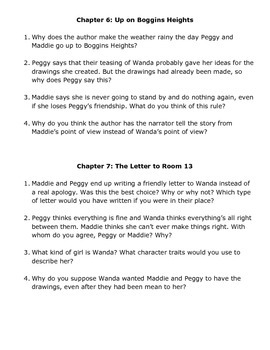 Comprehension Questions for the Novel The Hundred Dresses