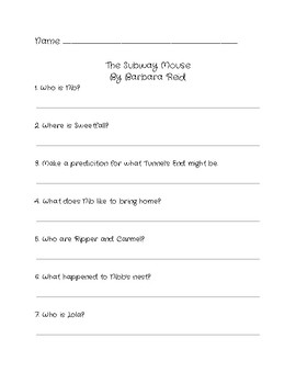 Comprehension Questions for 'The Subway Mouse' by Barbara Reid