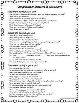 Comprehension Questions to Ask Your Child at Home by The Reading ...