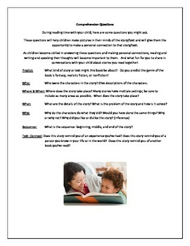 Comprehension Questions to Guide Parents in Reading With T