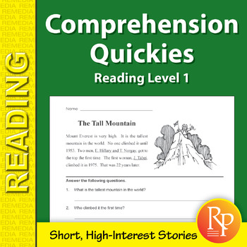 Comprehension Quickies (Reading Level 1)