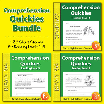 Comprehension Quickies Reading Level 1-5 {Bundle}